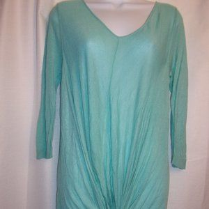 Gianni Bini Sz XS Aqua V-Neck Tie Bottom Top